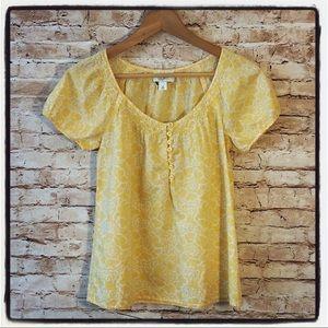 The Loft Yellow Peasant Shirt Top XS